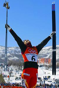 Beckie Scott of Canada celebrates